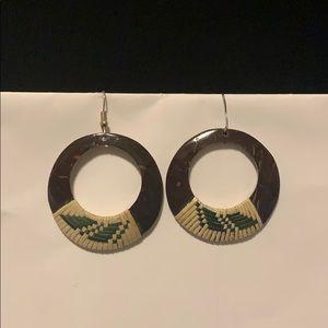 Brand new round island wood earrings